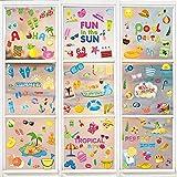 Hianjoo 9 Blätter Sommer Fensterbilder, Beach Pool Party Fensterdekoration Wiederverwendbar,...