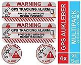 KOKOTEX GPS Aufkleber Auto (4 Stück) Silber klein Diebstahlschutz Tracking Alarm Tracker Sticker...