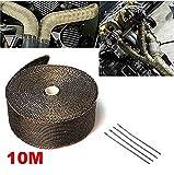 Queta 10M Hitzeschutzband Motorrad hitzeschutzband Auspuffband mit Kabelbinder aus Metall für...
