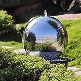 Köhko 40 cm Kugelbrunnen Hochglanz poliert 21004 aus Edelstahl mit LED-Beleuchtung