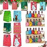 Geschenktüten Weihnachten, 24 Stück Weihnachten Papiertüte,mit Christmas Wooden Decoration...