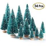 LWAN3 34 Mini-Weihnachtsbäume, Sisal-Seide, Mikro-Weihnachtsbäume mit Weihnachtskarte,...