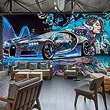 Moderne Kreative Street Graffiti Sport Auto Fototapete Restaurant Clubs KTV Bar 3D Wandbild Wand...