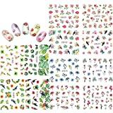KADS Nail Art Aufkleber Full Wrap Space Design-Blume Blätter Flamingos Nail Sticker Tattoo Sommer...