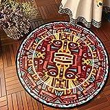 Yang Jingkai Ethnisches Druckmuster rutschfeste Runde Teppiche Couchtischdekoration Teppich...
