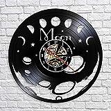 JNZART Phase des Mondes Vintage Vinyl Schallplatte Wandkunst Schlafzimmer Stille Wanduhr Raum Mond...