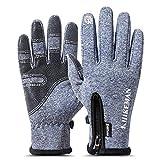 QXuan Winter-Fahrradhandschuhe, Reißverschluss, Thermo-Fahrradhandschuh, Touchscreen, Winddicht,...