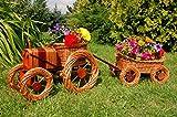 Traktor+Hänger aus Korbgeflecht, Gesamtlänge ca. 120 cm, Rattan, Weidenkörbe, bepflanzen...