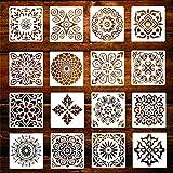KANOSON Mandala Schablone Set, 16 Stück Groß Wiederverwendbare Laserschnitt Malschablone/Airbrush...