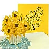 PaperCrush® Pop-Up Karte Sonnenblumen - 3D Blumenkarte für Frau, Freundin oder Mutter...